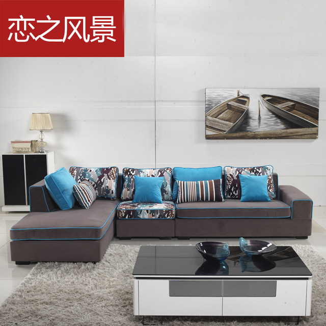 Ikea Modern Minimalist Fashion Fabric Sofa Corner L Shaped Small Units Shipping Blue Purple