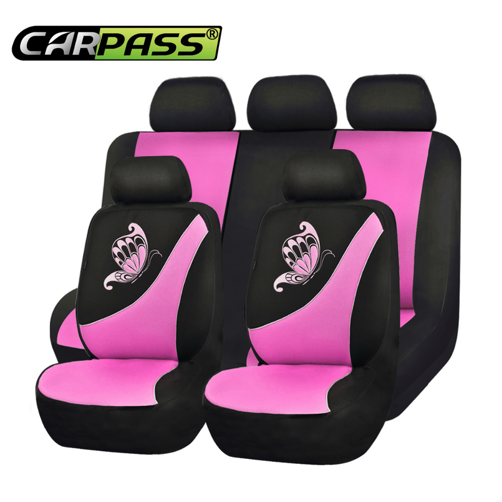 Balck and Rose Pink CAR PASS 11 Pieces Leather Universal Car Seat Covers Set