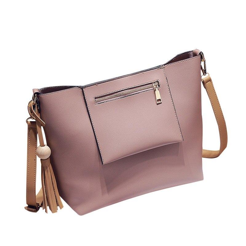 ФОТО Adjustable Straps Packet Messenger Bag Solid PU Composite Bag Women Cross Body Bags Tassels Handbag Delicate Pendant