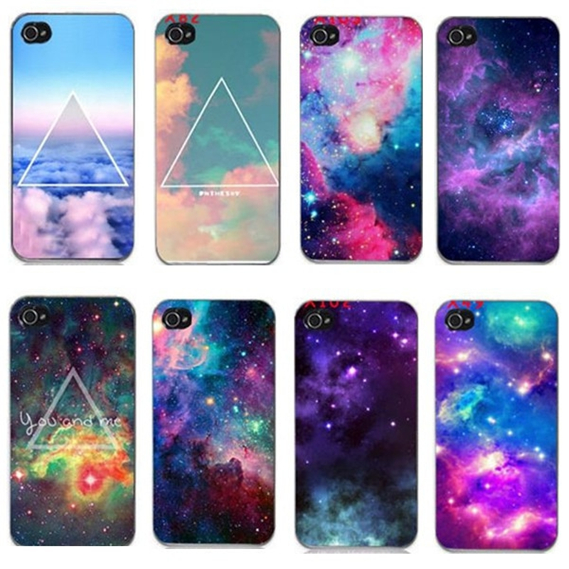 Bright Colorful Cloud Sky Outer Space Universe Triangle Hard Plastic Phone Fitted Case Cover For iPhone 4 4S 5 5s SE Capa Fundas