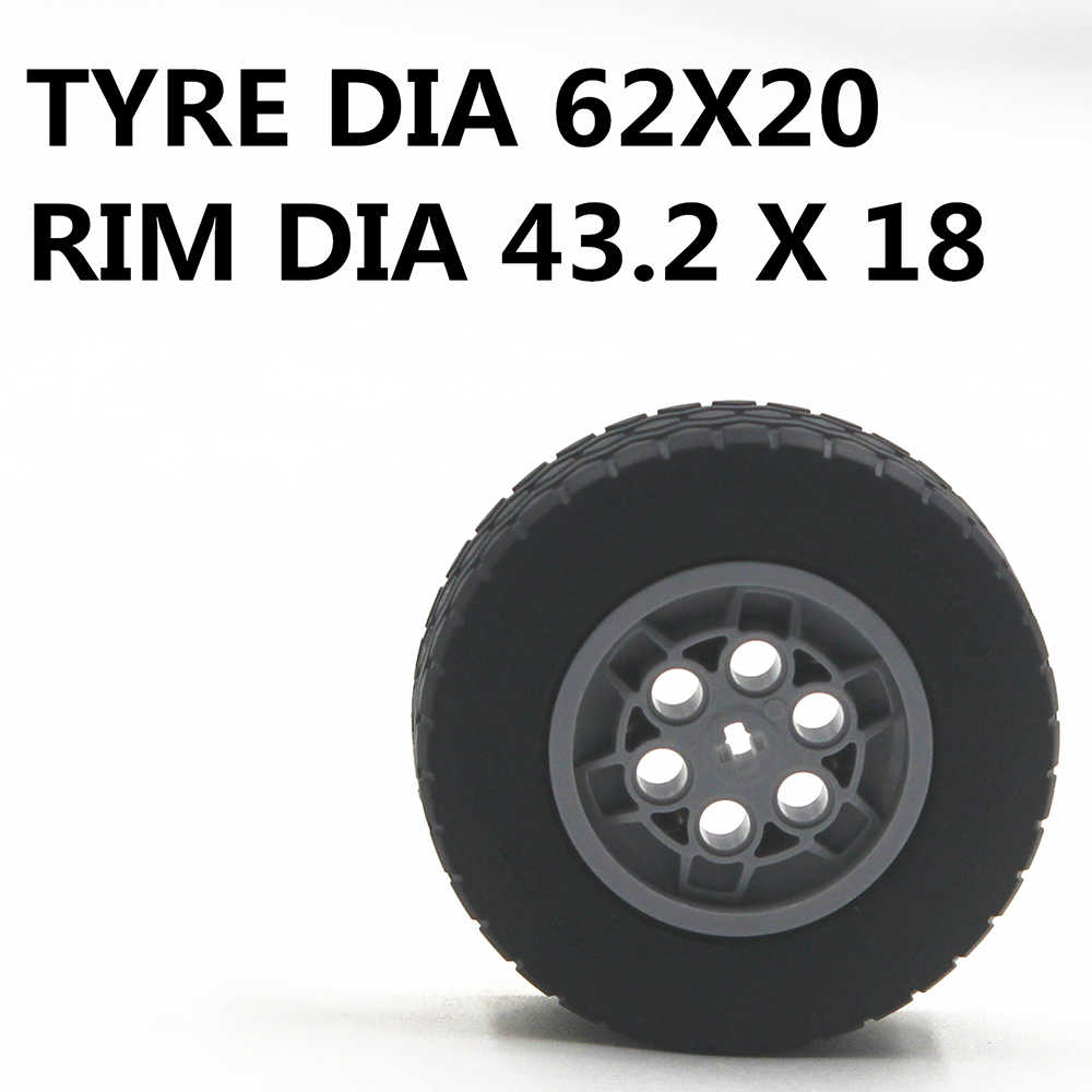 MOC Technic Parts 1pcs TYRE DIA. 62X20 & RIM DIA. 43.2 X 18 compatible with lego for kids boys toy MOC-T-62