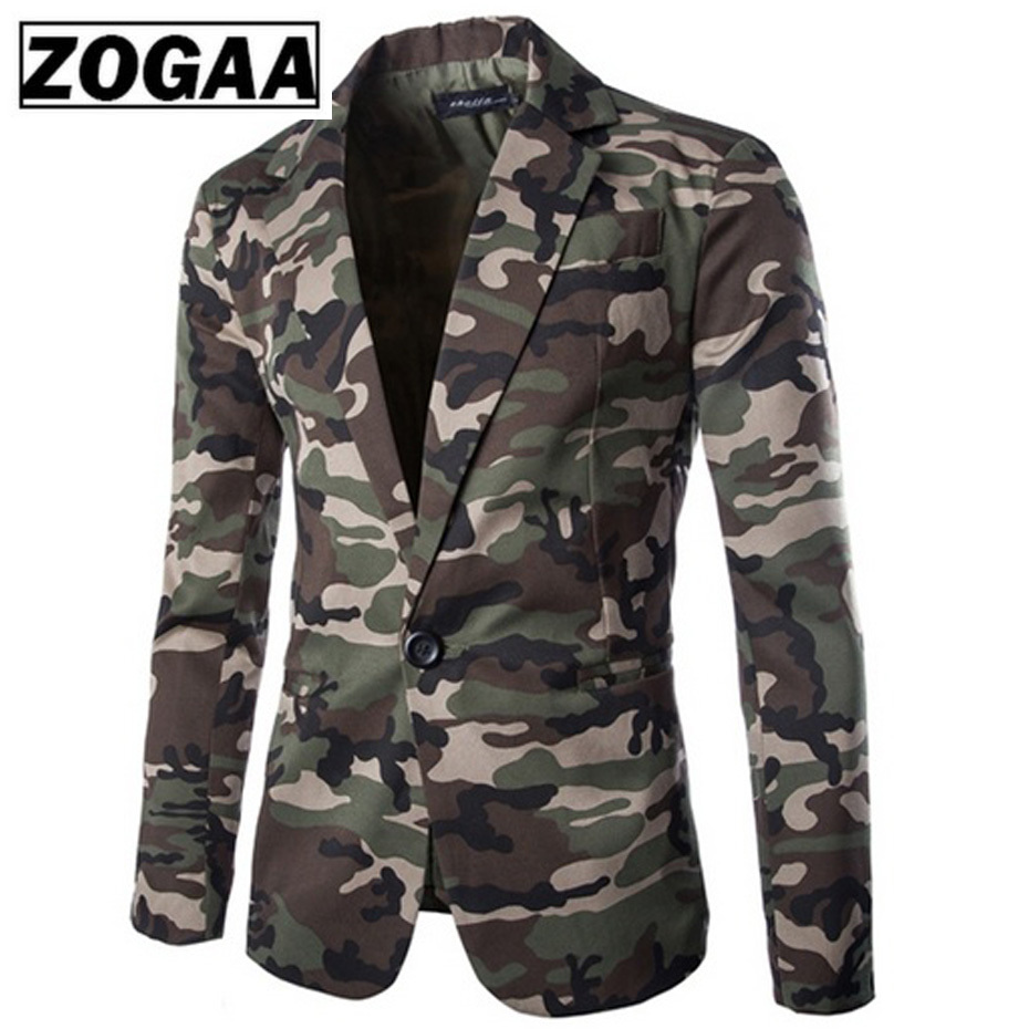 Zogaa Brand New Men's Blazer Camouflage Pure Cotton Regular Blazer Men Slim Fit Single-breasted Mens Suit Jacket Casual Coat