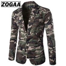 Zogaa Brand new men's blazer camouflage pure cotton regular blazer men slim fit single-breasted mens suit jacket casual coat fashion printed mens designer blazer long sleeve 2019 new single breasted coat blazer men