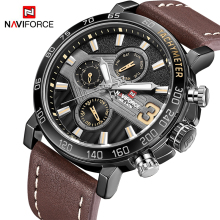 New Watches Men Luxury Brand NAVIFORCE Men Sport Watches Waterproof Leather Quartz Week Date Clock Mens Watch Relogio Masculino