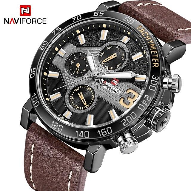 Nieuwe Horloges Mannen Luxe Merk NAVIFORCE Mannen Sport Horloges Waterdicht Leer Quartz Week Datum Klok mannen Horloge Relogio Masculino