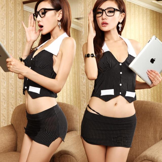 OL traje sexy para las mujeres tentación porno trajes eróticos secretaria uniformes vestido babydoll langerie
