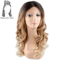 Desire For Hair 1pc 22inch Ombre Blonde Color Wavy Japanese Futura Heat Resistant Synthetic Lace Front