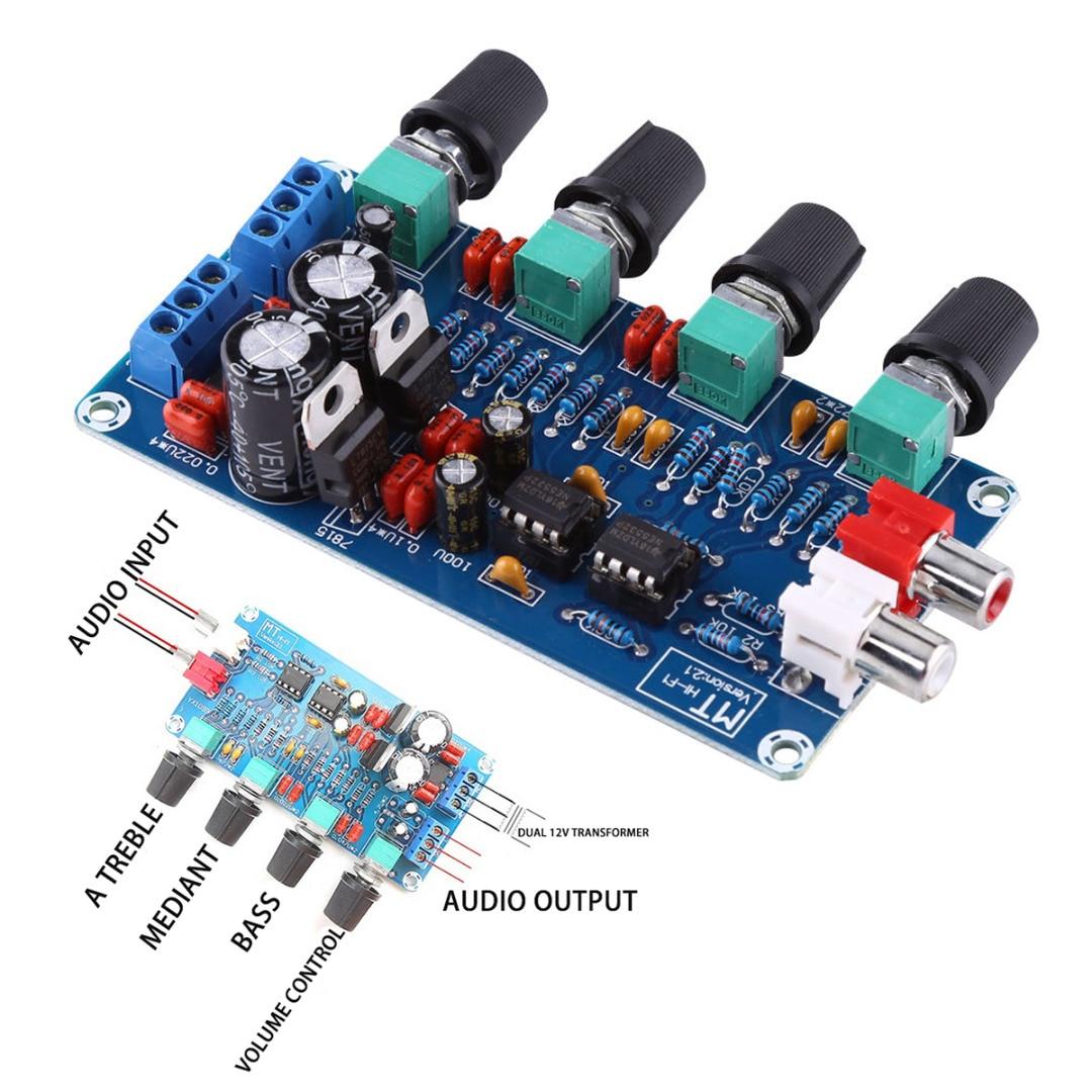 Nova Chegada 1 pc NE5532 OP-AMP HIFI Volume Tone Controle EQ Preamp Preamplifier Board Módulo 2 Canal Amplificador para Casa