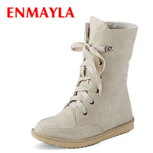 ENMAYER  2014 fashion female flat wedding sexy leather ladies snow boots for women and womens autumn winter shoes