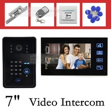 DIYSECUR 7 Inch Monitor Video Door Phone Intercom System with Remote Control IR Keypad RFID Reader Weatherproof Cover Camera