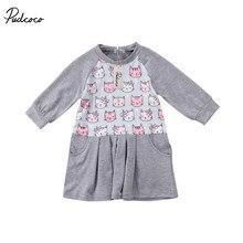 df77084d5f3 Одежда для детей  малышей  девочек мультфильм котенок зайчик с длинным рукавом  платье наряды одежда
