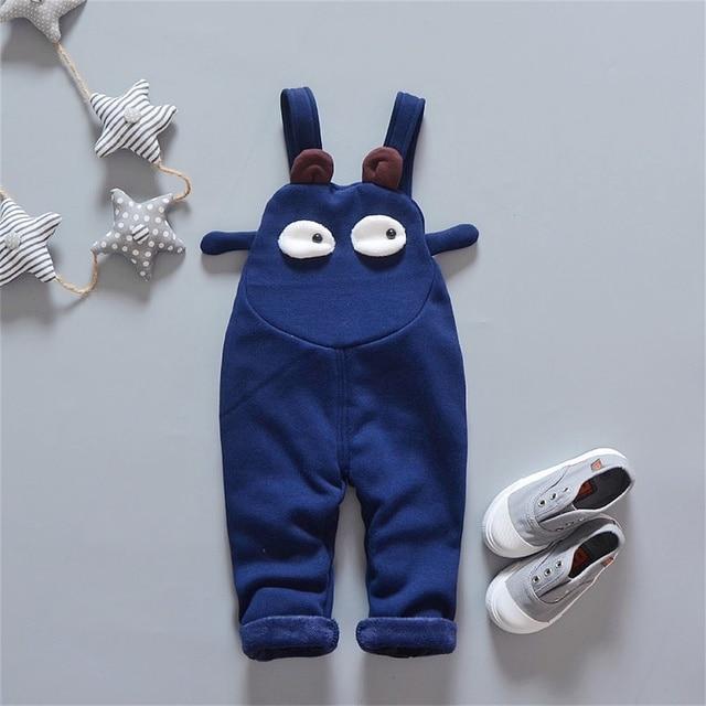2-5 Years Old Unisex Winter Warm Cotton Cute Children Overalls Thickening Velvet Inside Kids Overalls Boys Pants CC0004