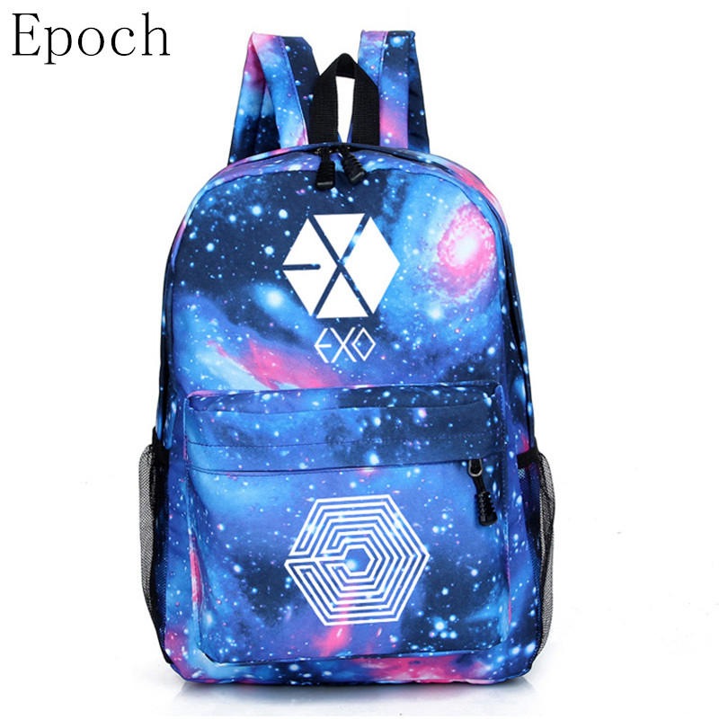 Epoch Hot KPOP EXO GOT7 Good Boy XOXO Backpack Women Rucksacks Student School Bag For Teenager Girls Feminine Printing Backpack msmo 2017 new kpop exo canvas backpack sacks women men student school bags for girl boy casual travel exo bags