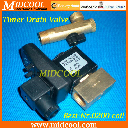 Best-Nr.0200 2 way electronic Auto timer compressor drain valve 220V AC 1/2 Orifice 3mm brass flow drainer