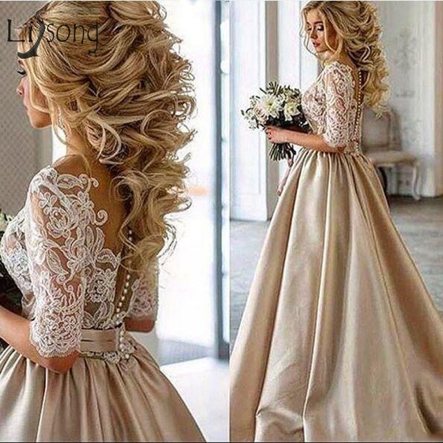 Lace Champagne Wedding Dresses 2018 Sheer Neck Half Sleeves Bridal Gowns Button Dubai Arabic Occasion Gown Party Dress