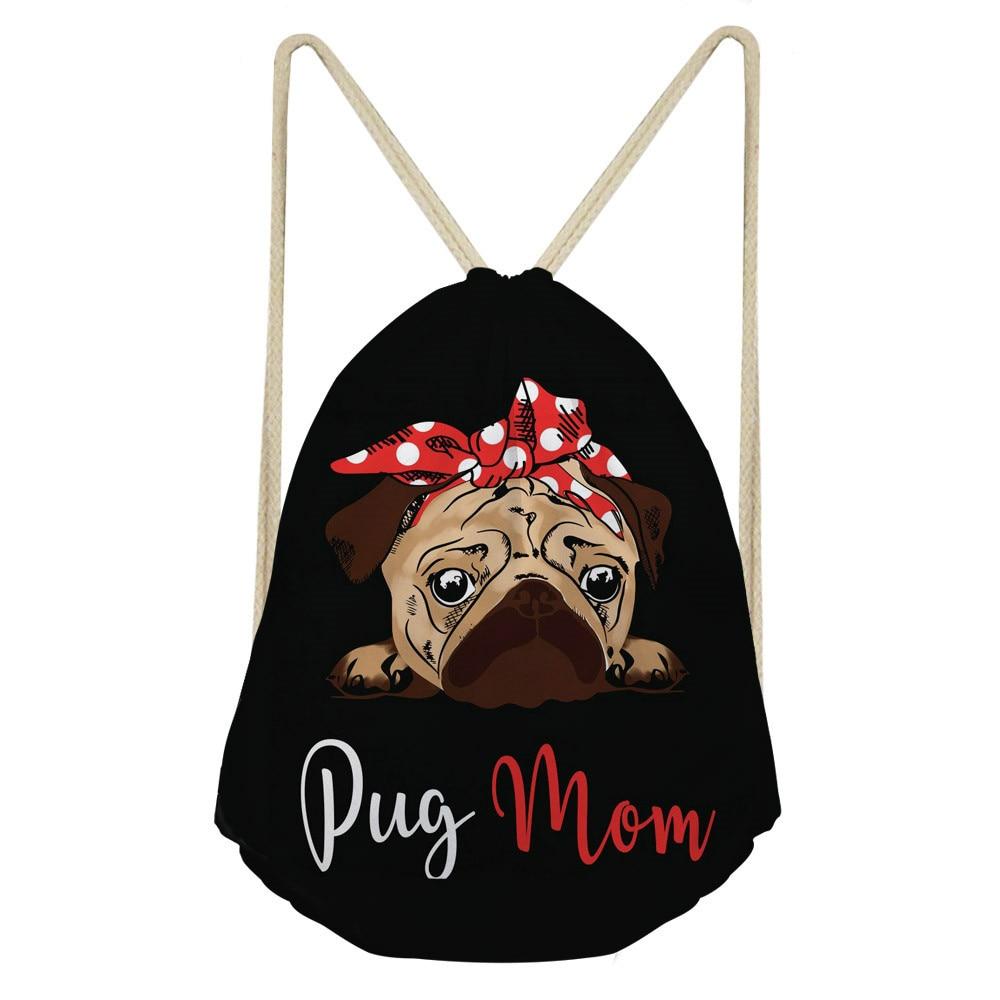 ThiKin Pug Dog Print School Drawstring Backpack Bag Shoes Backpack Daily Women Drawstring Bags Bolsa Cordones Mochila