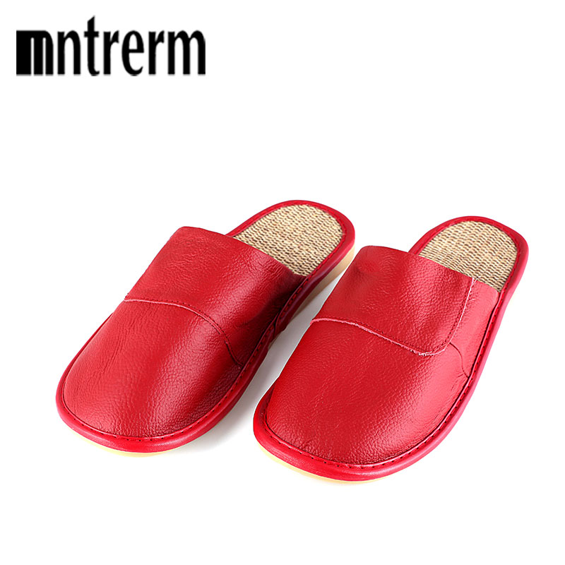 2018 New Women Spring Anti-skid Cow Leather Slippers Indoor Home Wood Floor Cooler Hemp Indoor Slippers Home Summer Slippers new 2018 indoor