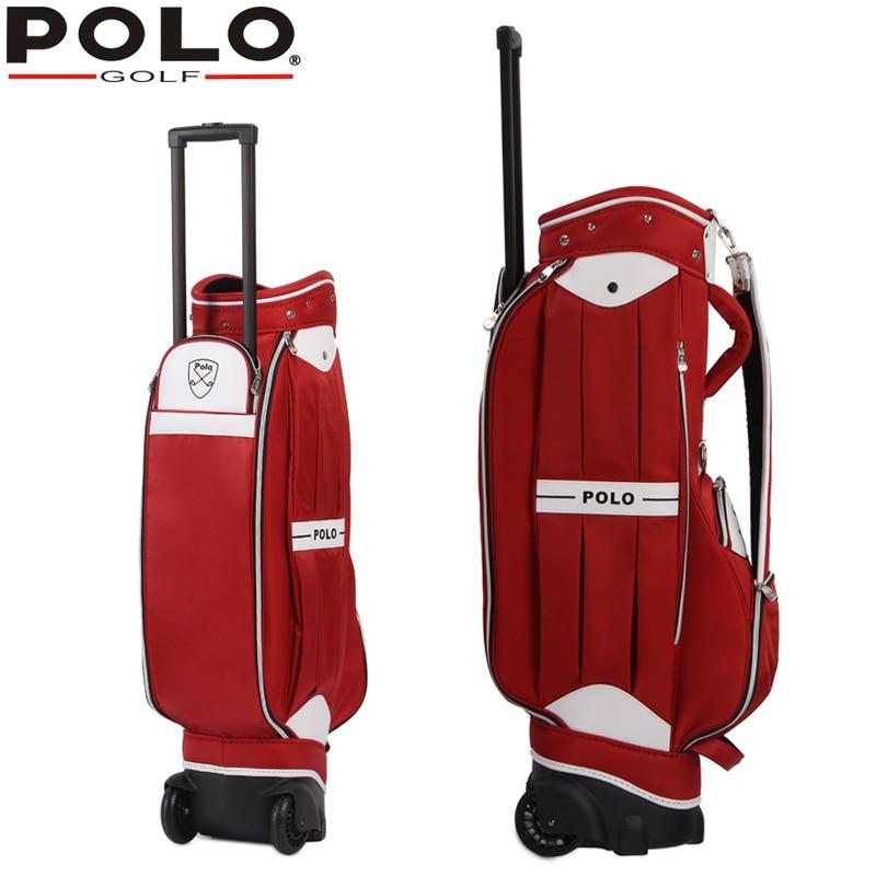 цена на Famous Brand POLO Golf Travel Wheels Standard Stand Caddy Bag Complete Golf Set Bag Nylon golf cart bag staff golf bags