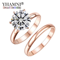 YHAMNI Original Pure Gold Filled Double Ring Fashion Jewelry Luxury 2ct CZ Zircon Engagement Rings Gift For Women DAR 0012