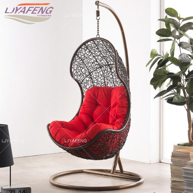 Hanging Chair Swing Velvet Tufted Cane Sofa Vine Outdoor Basket