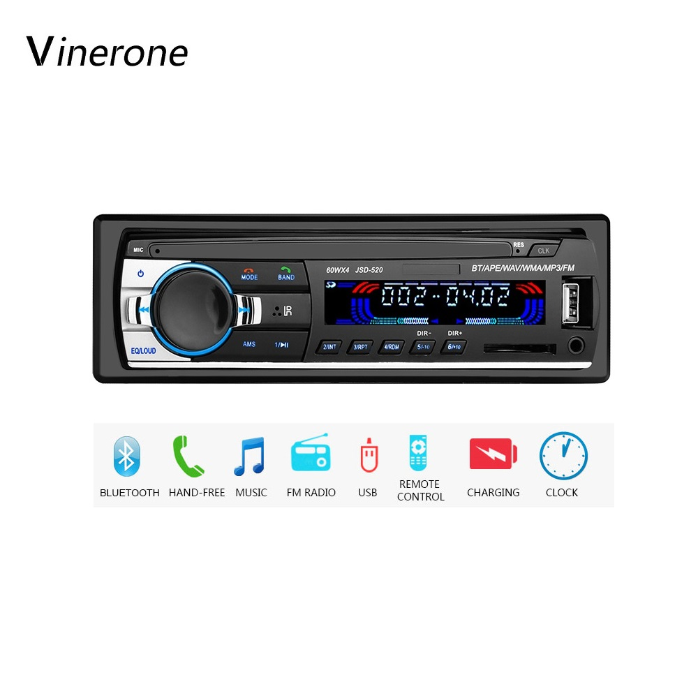 Car Stereo Radio Audio MP3 Player 1 Single DIN 4x60W USB FM AUX Bluetooth