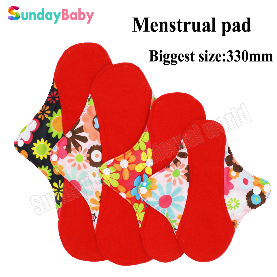 Washable Cloth Menstrual Pad Red Microfleece inner Cloth Sanitary Napkin Panty liner and resuable menstrual pad