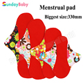 Washable Cloth Menstrual Pad Red Microfleece inner Cloth Sanitary Napkin Panty liner and resuable menstrual pad for night 330mm