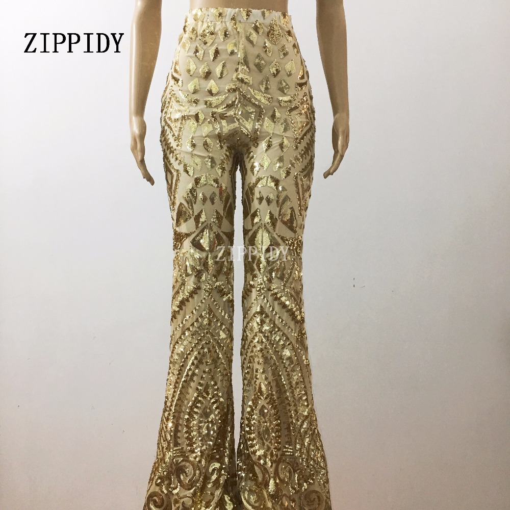 New Design Gold Sequins Pants Birthday Celebrate Toursers Costume Female Singer Bling Performance Stage Dance Wear