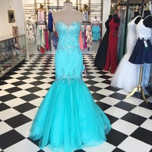 Nach Maß 2016 Blau Prom Kleider Schatz Backless Lange Abendkleider Perlen Glänzenden Kristall Vestido De Festa