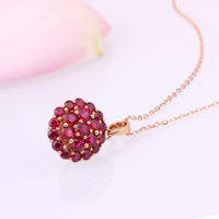 Robira Fashion Pendants Necklaces For Women Jewelry Classic 18K Rose Gold Natural Pigeon Blood Burmese Ruby