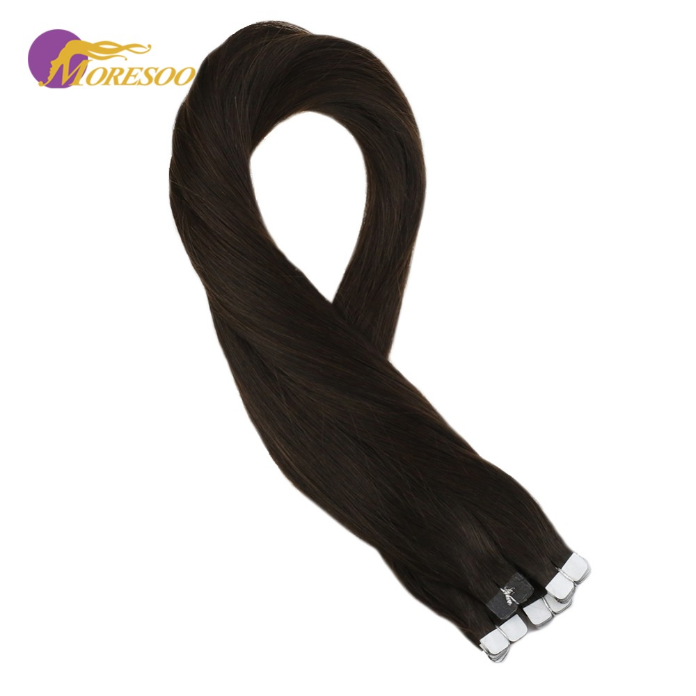 Moresoo Remy Mini Tape In Hair Extensions Real Brazilian Human Hair Skin Weft Darkest Brown #2 Glue In Hair Extensions 10PCS 20G