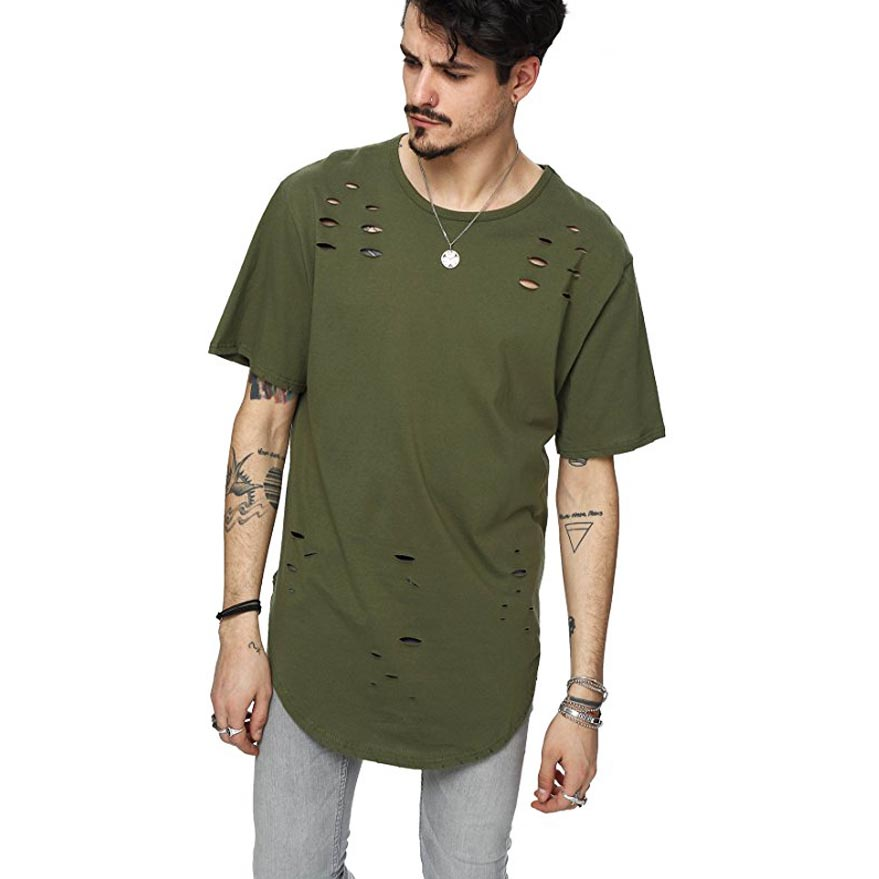 New 2017 summer fashion street t shirt men holes hip hop for Latest shirts for mens 2017