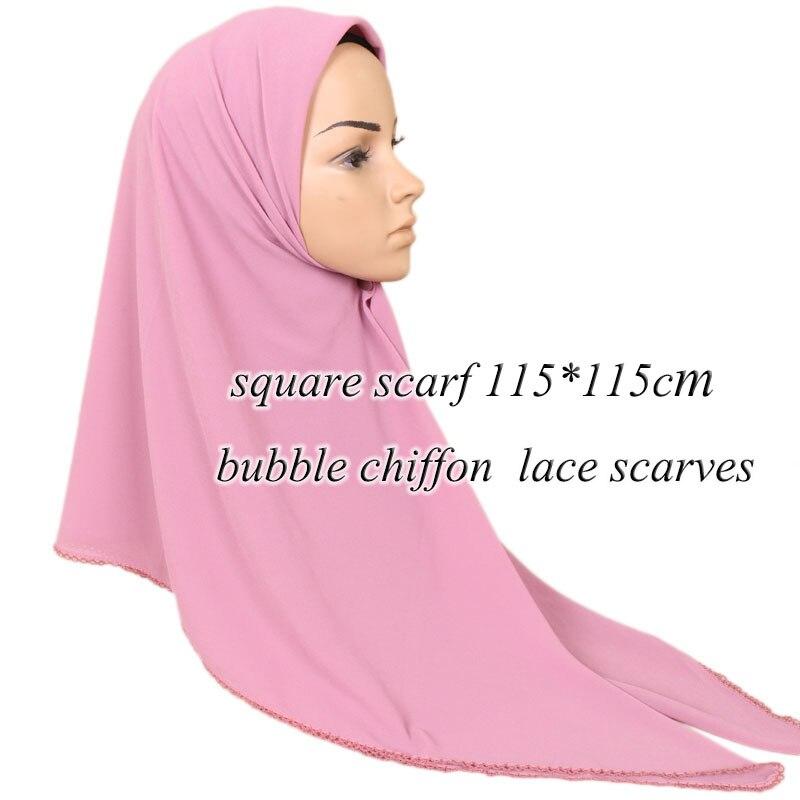 LMLAVEN square scarf plain bubble chiffon lace scarves solid color lace edges hijab muslim wraps shawls
