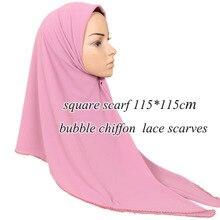LMLAVEN квадратный шарф, шифоновые кружевные шарфы, одноцветные кружевные хиджабы с краями, мусульманские шарфы, шали, платок, размер 115*115 см