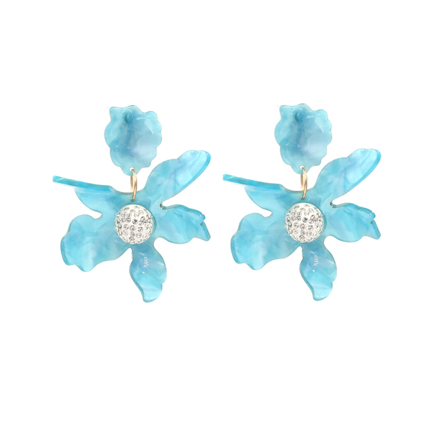 Ear Clip Earring Fashion Women Statement Earrings Jewelry Brand Baby Blue Acrylic Flowers Wedding