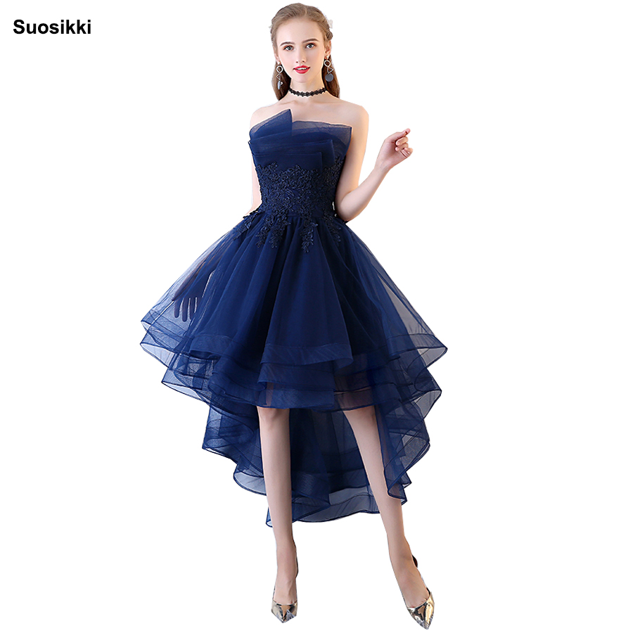 Suosikki 2018 Navy Blue   Evening     Dresses   Short Front Long Back Party Gowns Lace Applique Strapless vestidos de festa Formal