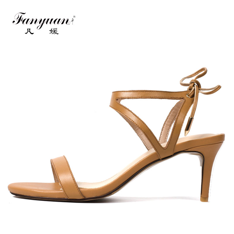 Fanyuan Leather Sandals Women Nude Kitten Heels Cross Strappie Sandals Summer Korean Concise Lace Up Shoes Woman sandalie Beige