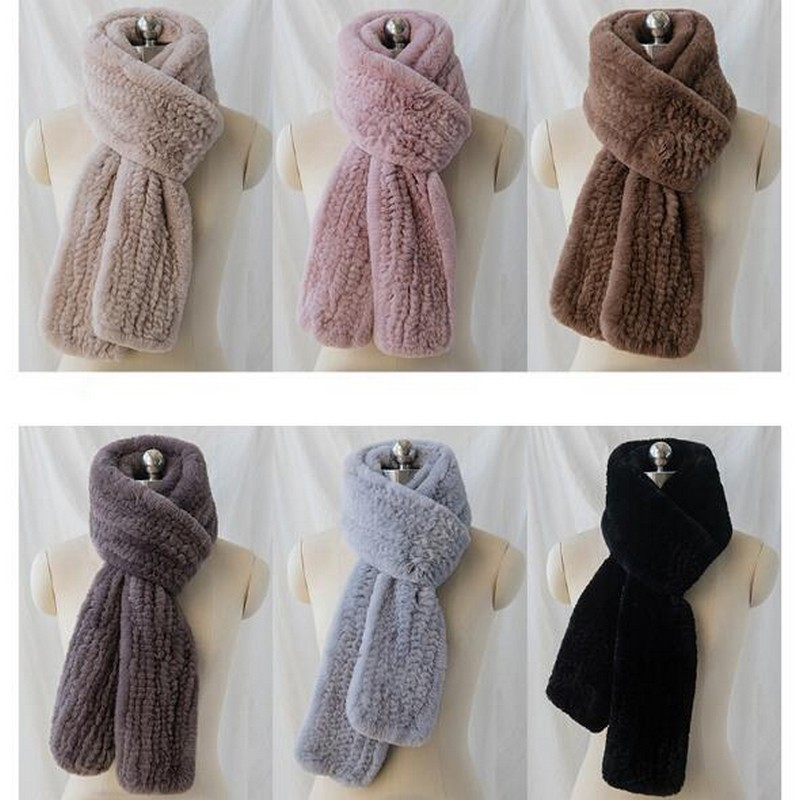 2018 Women's Real Fur Scarf Luxury Big Long Natural Rex Rabbit Fur Scarves Thick Warm Winter Fashion Fur Wraps Korean Style