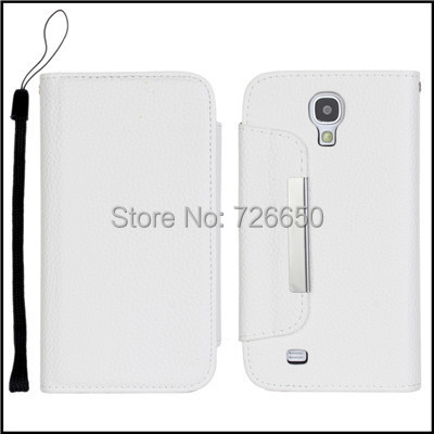 Pure White Lichi Wallet Leather Case For Samsung Galaxy S4 i9500 with Stand TV Function & Card Holders + Free Screen Protector