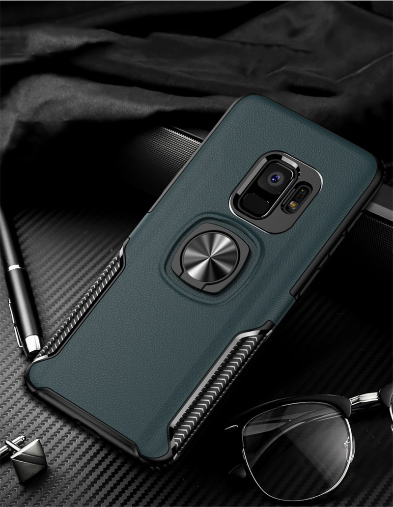 HTB1ZFDGaEjrK1RkHFNRq6ySvpXa1 Leather Texture Stand Case For Samsung Galaxy S9 S8 S10 Plus Note 10 9 8 Ring Holder Magnetic Armor Cover For J4 J6 J8 A8 2018