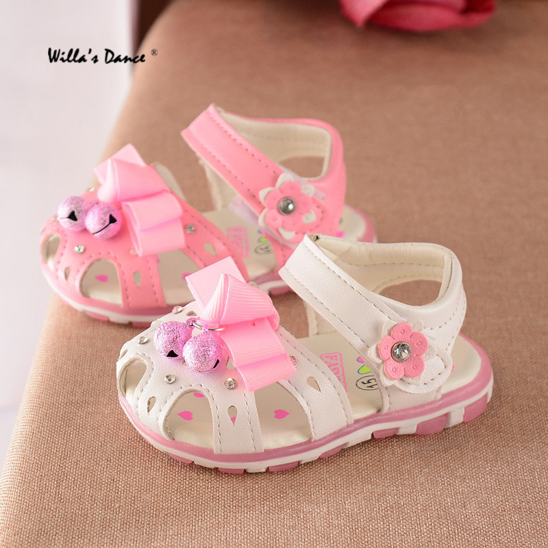 Willa's Dance Baby Girls Sandals 2017 Summer Bells Princess Shoes Brand Ribbon Flowers Casual Toddlers Footwear Bebes