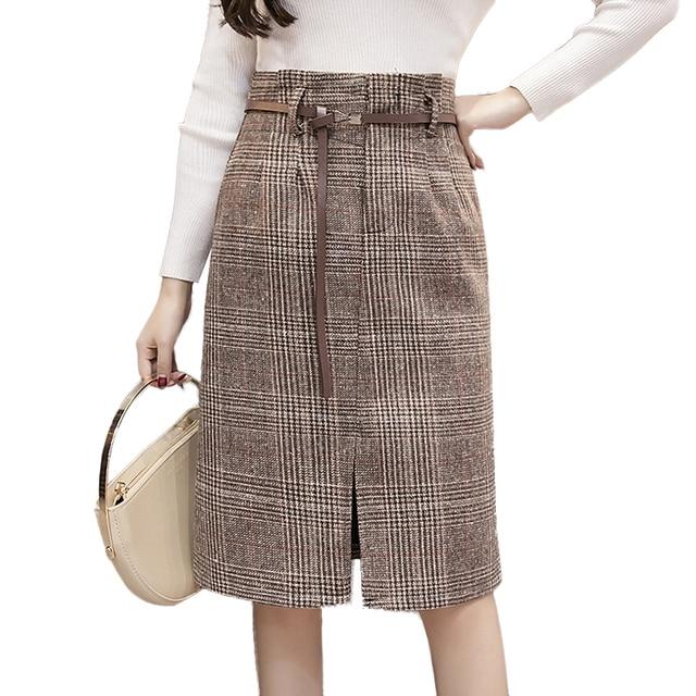 d4c2feaea611f 2018 New Autumn Winter Skirts Womens High Waist Split Plaid Skirt Belted Pockets  midi skirt Casual Plus Size Women Skirt saias
