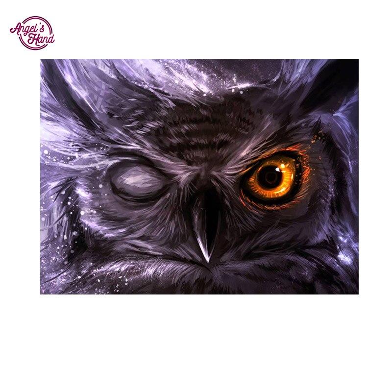 ANGEL S HAND Rhinestone painting diy round diamond painting canvas painting full owl drill painting diamond