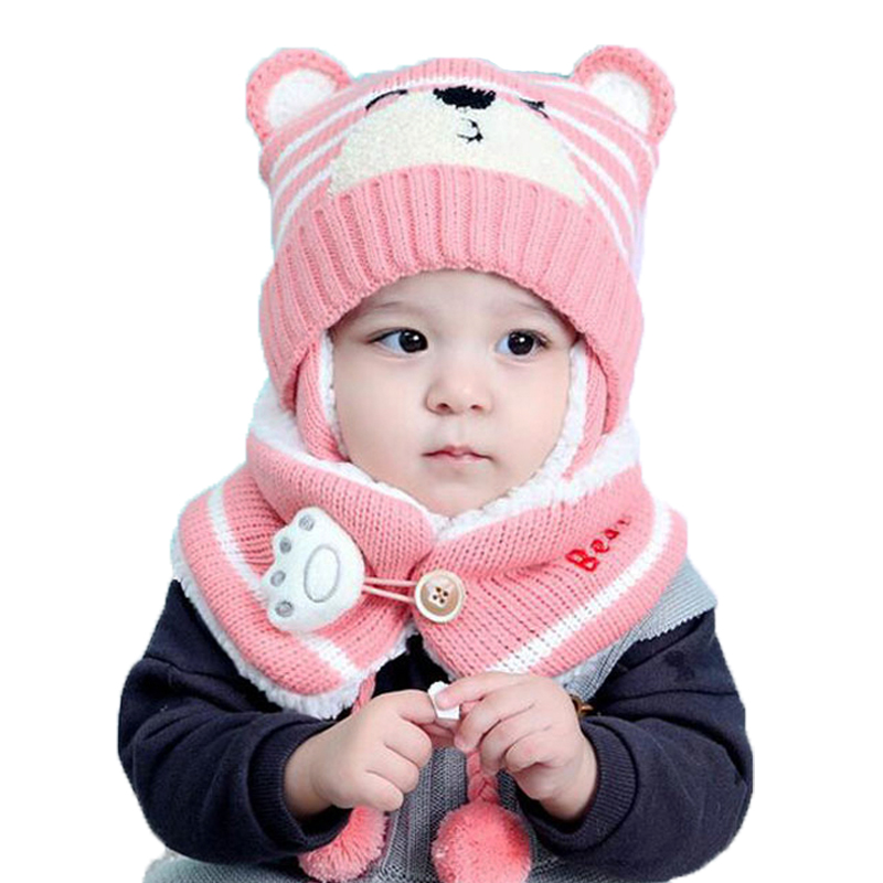 Unisex Child Beanies Cap Set Baby Kids Cartoon Design Stripe Knit Add Velvet Hat And Scarf Winter Warm Suit Set MZ5187