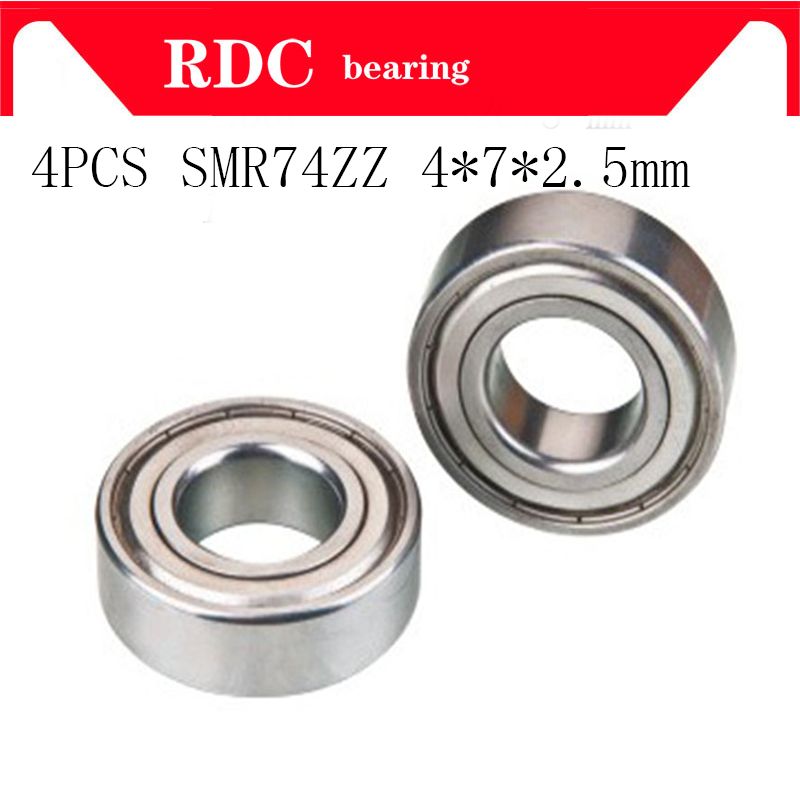 4PCS ABEC-5 Stainless Steel SMR74ZZ SMR74Z  4*7*2.5 SMR74 ZZ 4x7x2.5 Mm Shield Miniature High Quality Deep Groove Ball Bearings