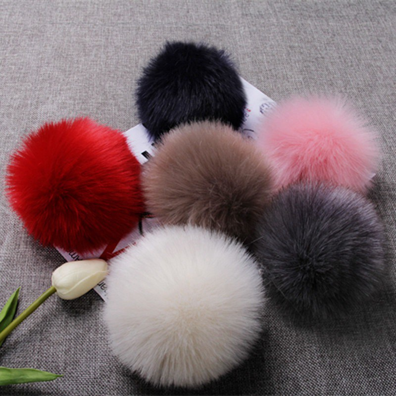 8CM 13 Colors Fluffy Rabbit Fur Ball Key Chain Women Car Bag Key Ring Cute Cream Black Pompom Artificial Rabbit Fur Keychain