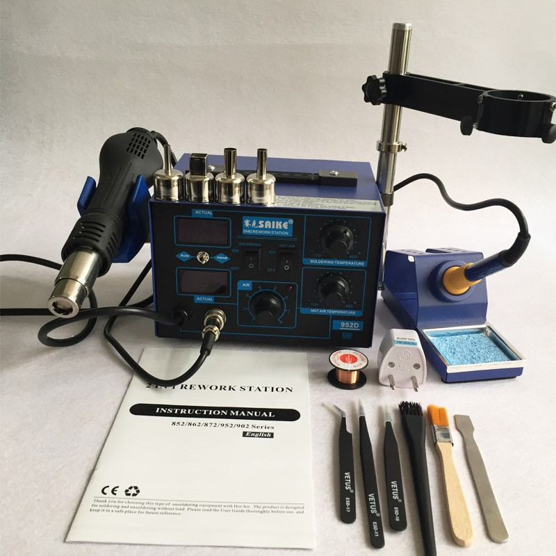 NEW Saike 952D Hot Air Gun + Soldering Iron 2in1 Power 760W BGA rework station welding table ,Many gifts dsei12 06a page 2 page 2
