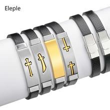 Eleple Stainless Steel Titanium Retro Trend Cross Dagger Bracelets Mens Simple Adjustable Hand Rope Jewelry Wholesale S-B332