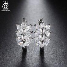 ORSA JEWELS 2018 Silver Color Earrings Leaf Style Marquise Cut AAA Austrian Clear Zircon Women Fashion