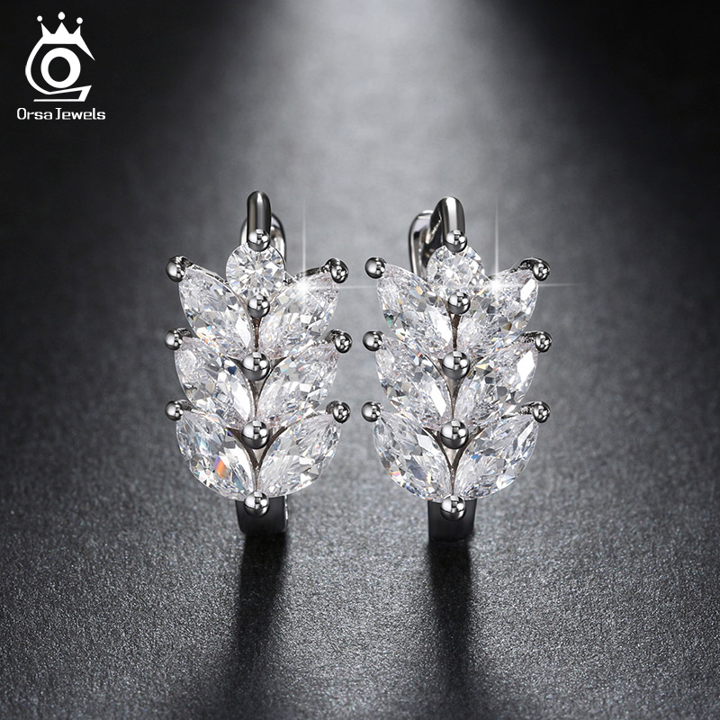 ORSA JEWELS 2019 Silver Color Earrings Leaf Style Marquise Cut AAA Austrian Clear Zircon Women Fashion Earring Stud OME03
